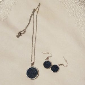 Sterling Silver Blue Drusy Necklace and Earrings